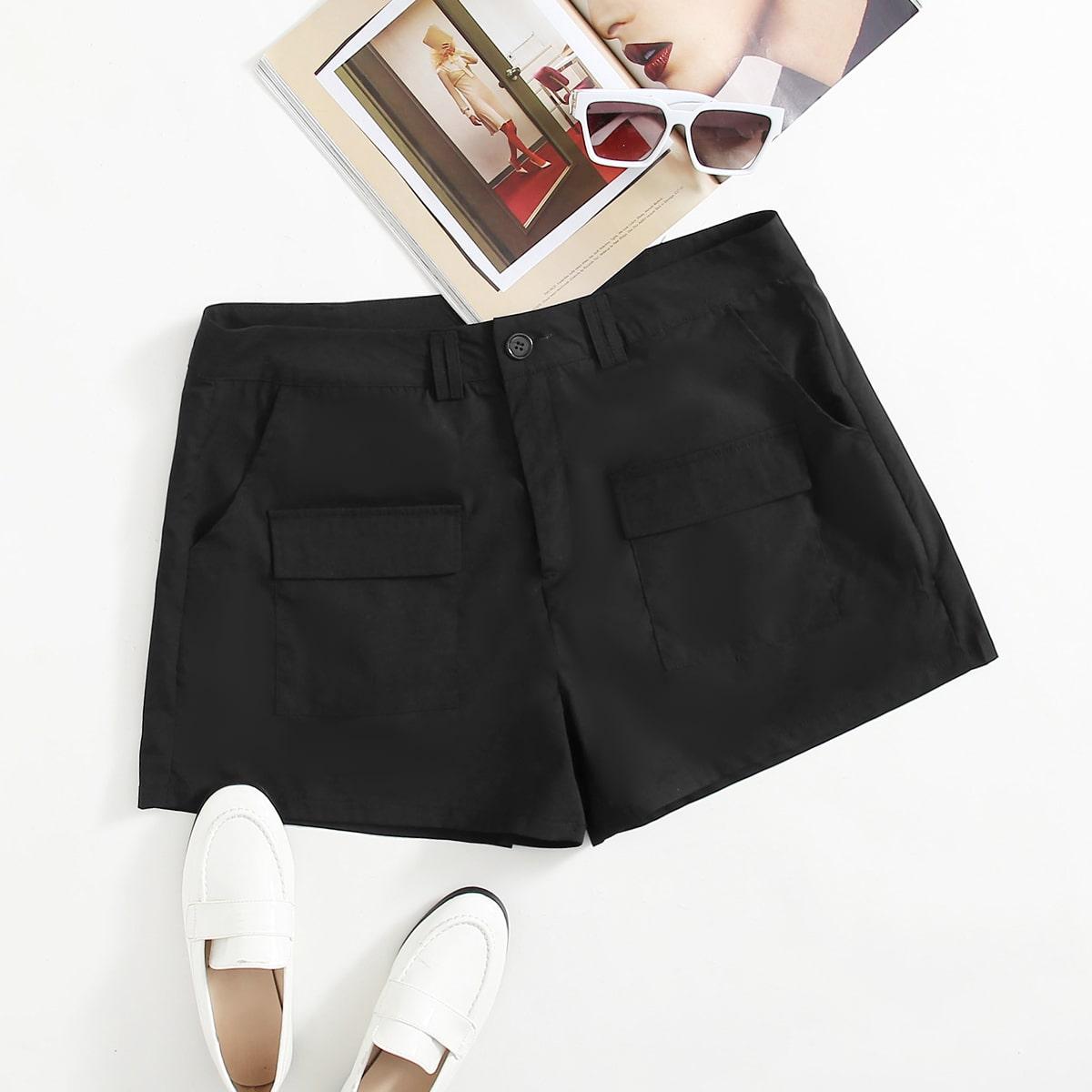Plus Flap Pocket Solid Shorts