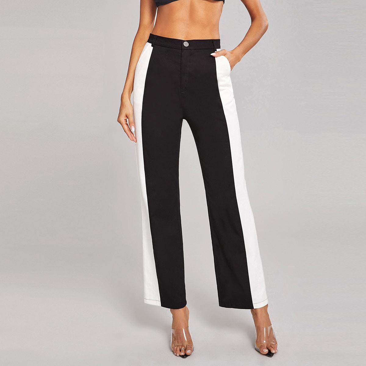 Контрастные брюки с карманом