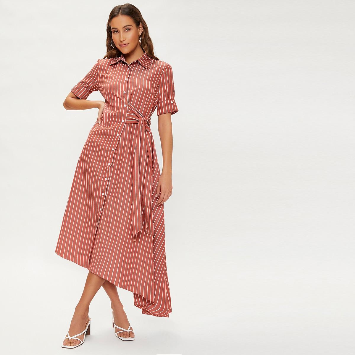 Платье в полоску с узлом