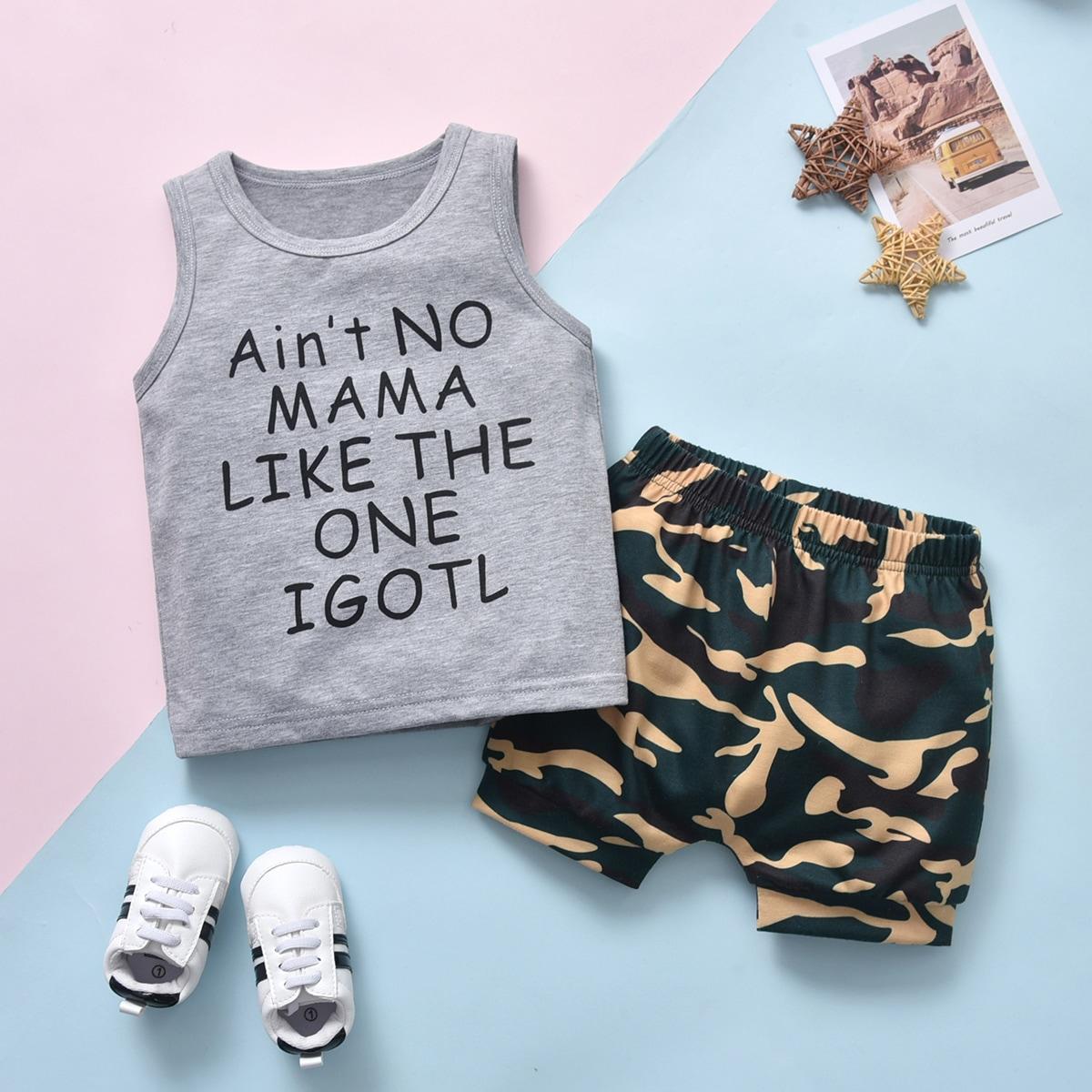 Tank Top mit Buchstaben Grafik & Shorts mit Camo Muster