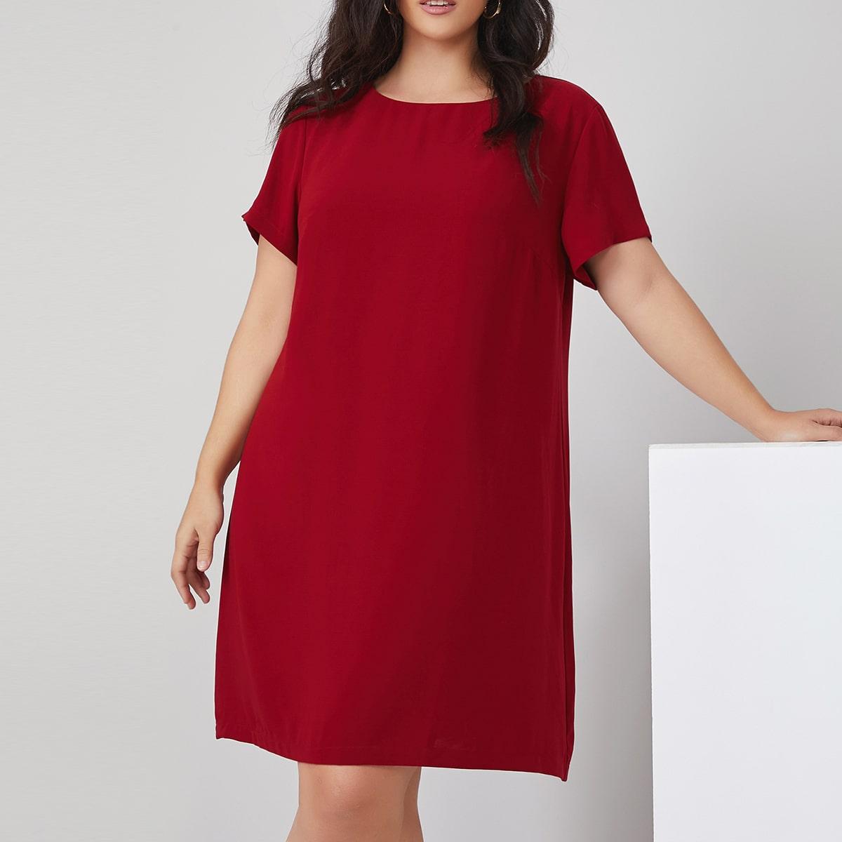 Однотонное платье размера плюс