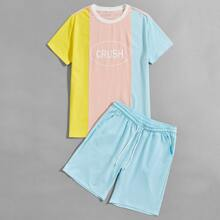 Guys Color Block Tee With Track Shorts