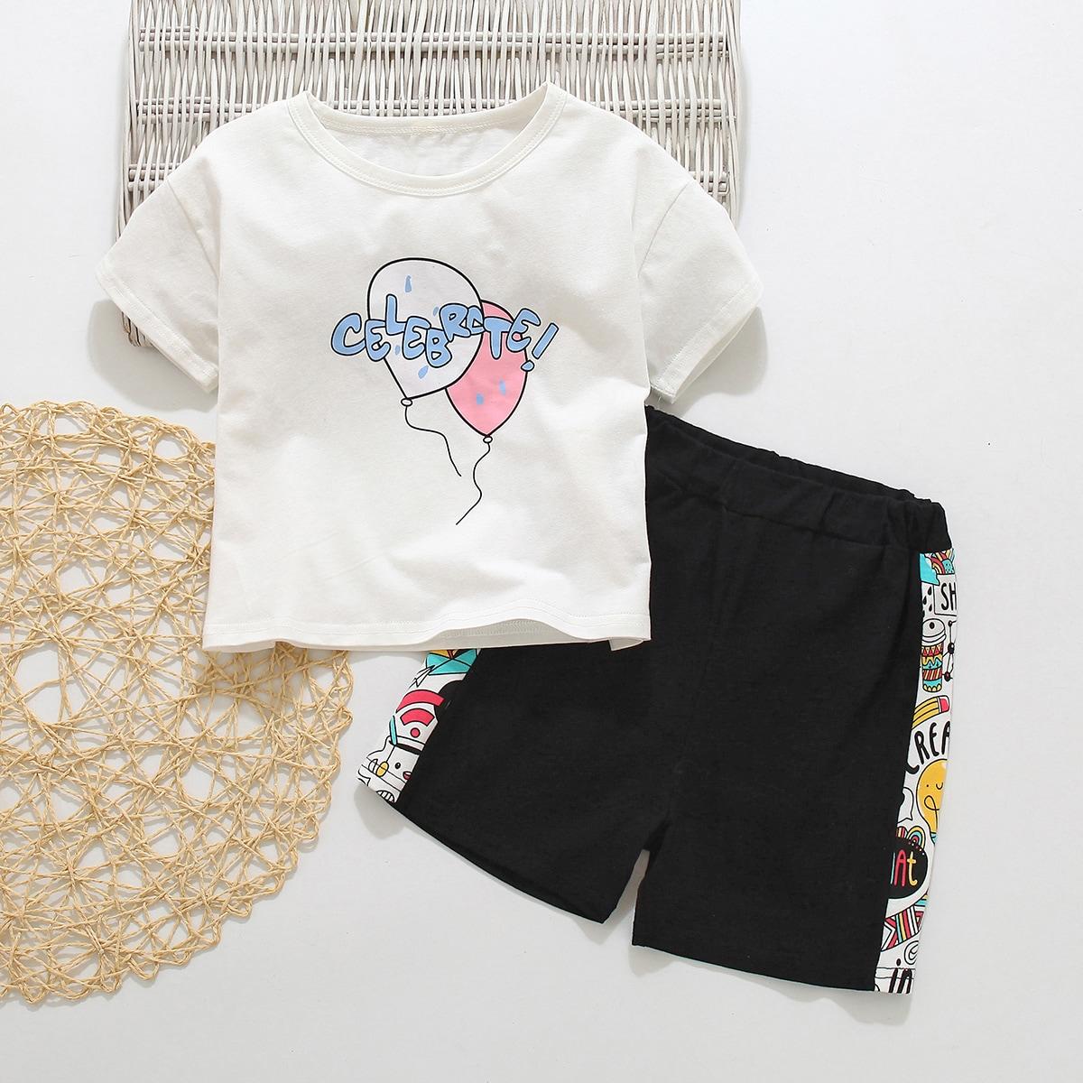 Шорты и футболка с принтом для мальчиков по цене 584