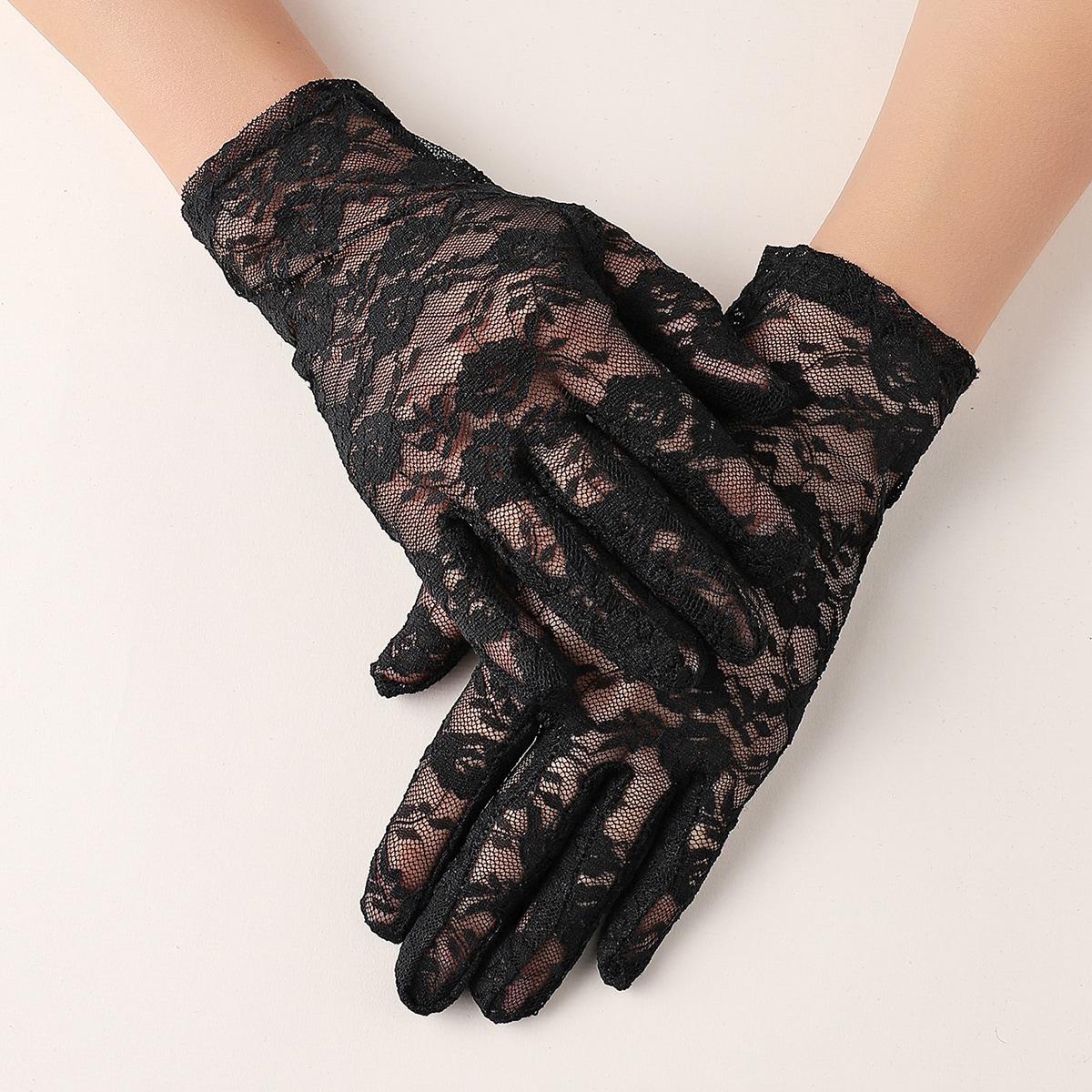 Однотонные кружевные перчатки