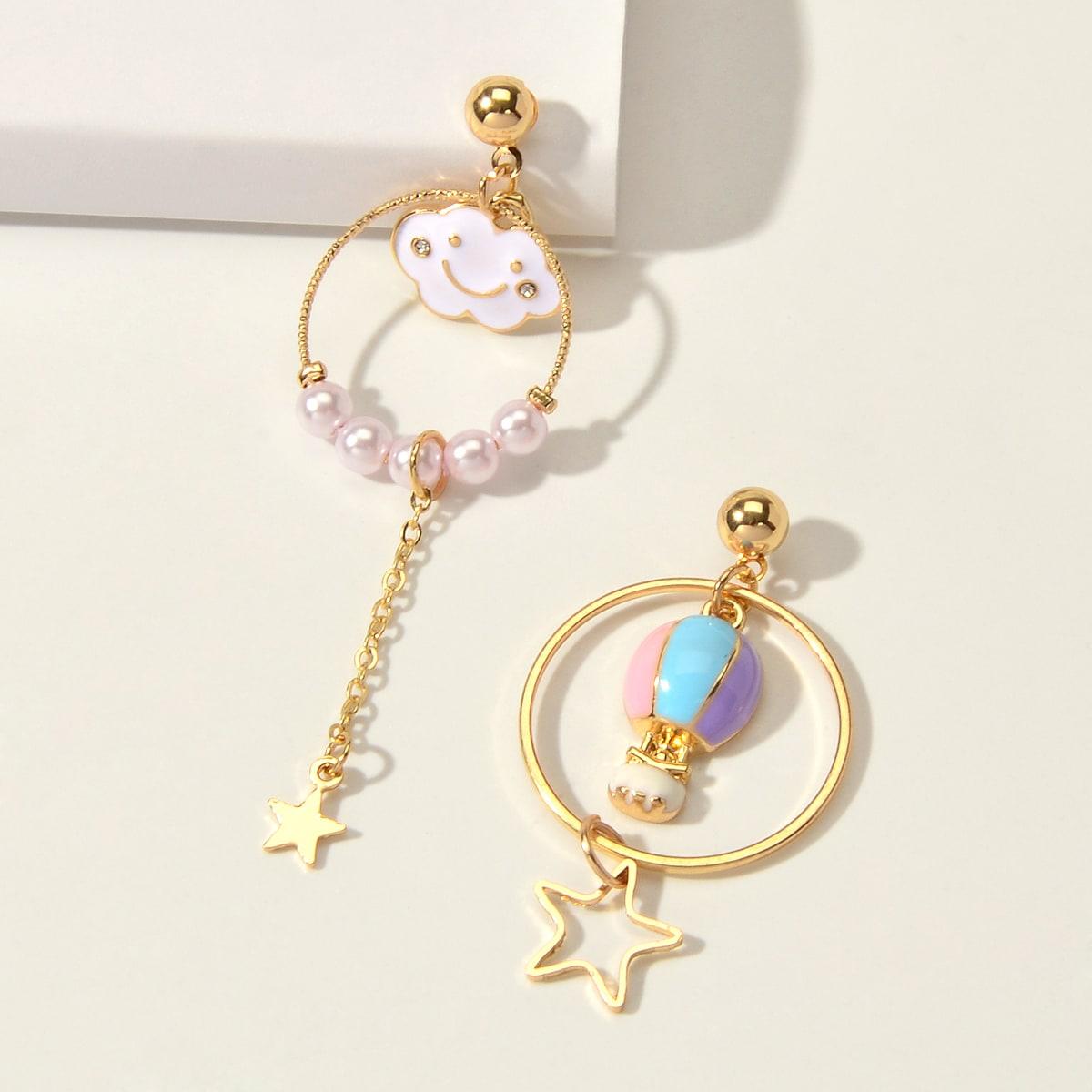 Faux Pearl Star Decor Drop Earrings