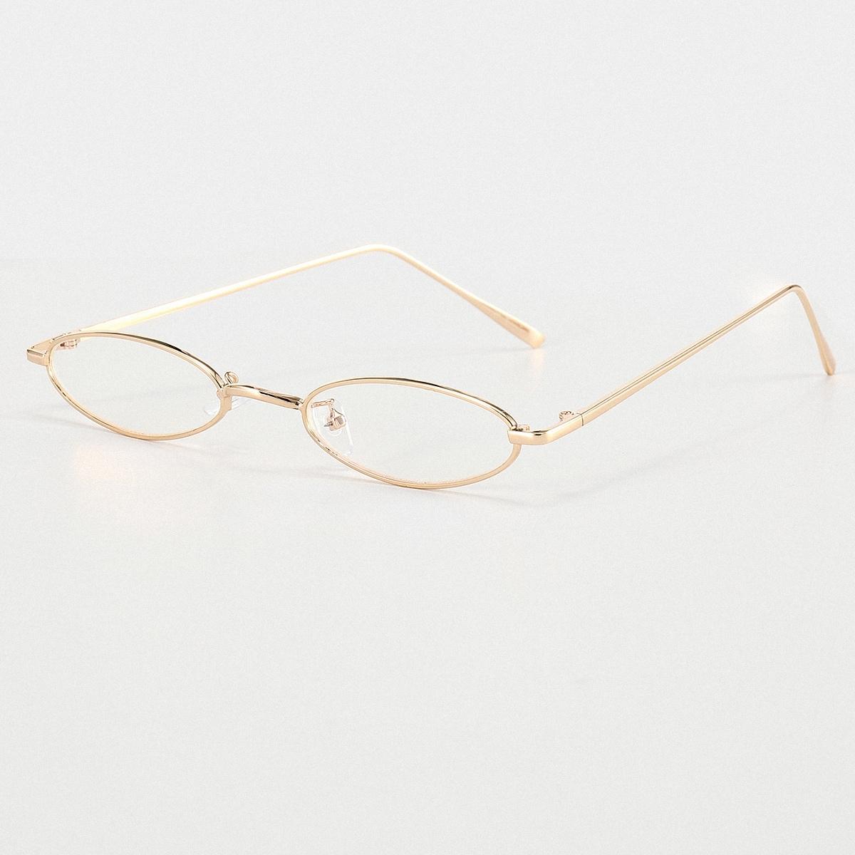 shein Kacamata Bingkai Logam Oval Pria