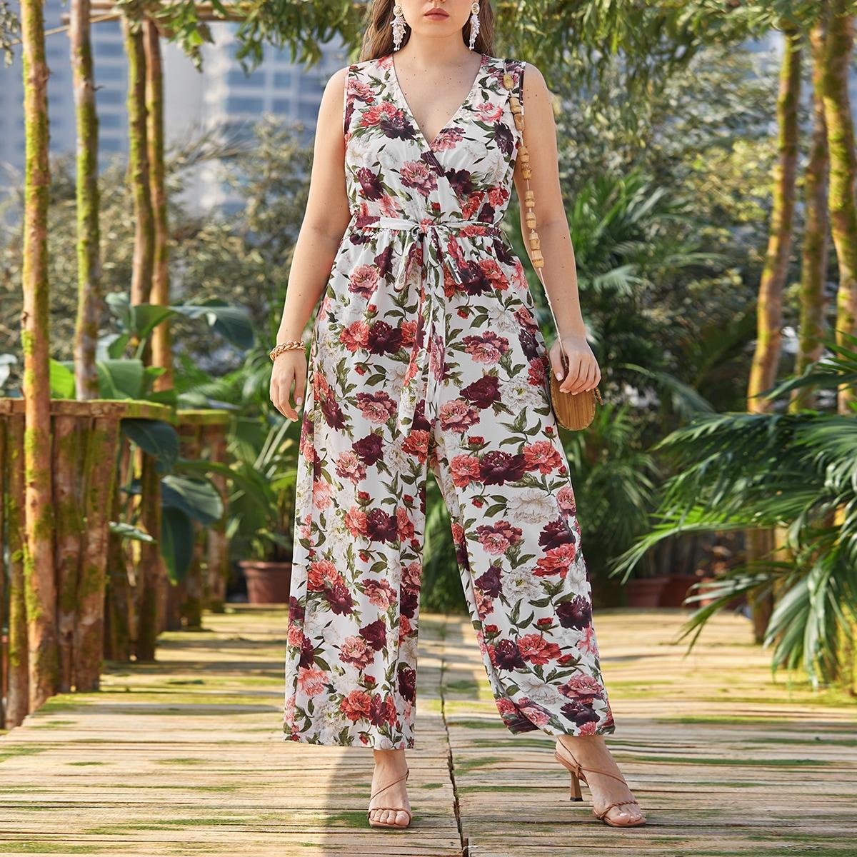 Plus Floral Surplice Front Belted Culotte Jumpsuit