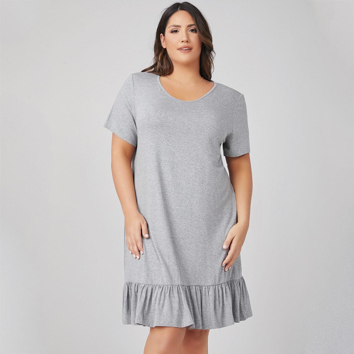 Платье размера плюс с оборками
