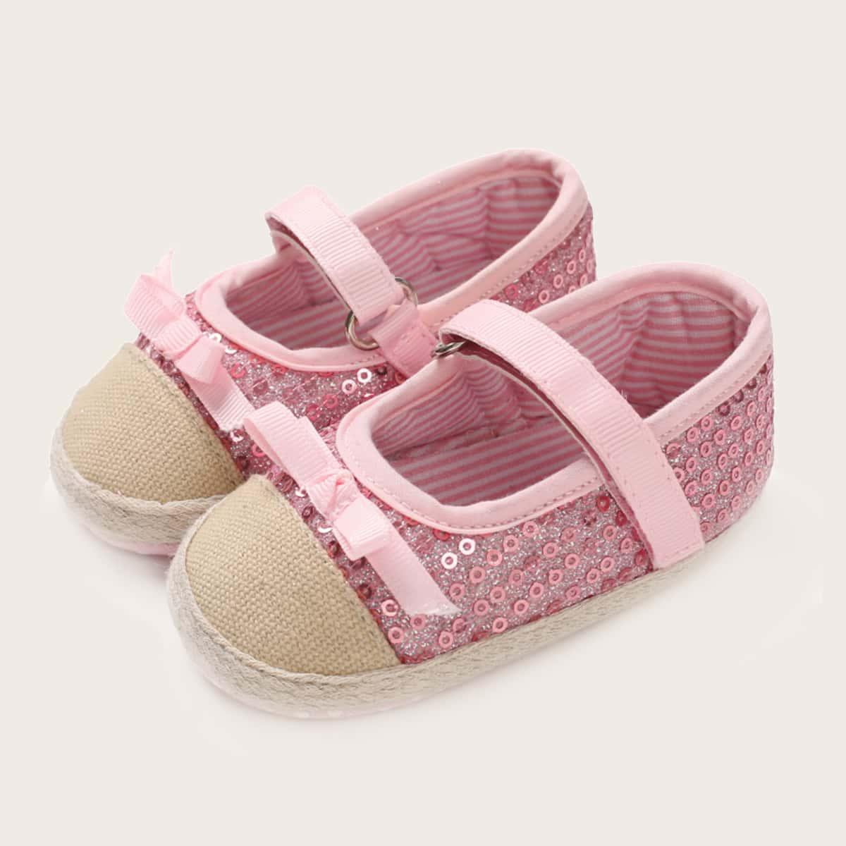 shein Platte schoenen met strik en lovertjes voor baby's