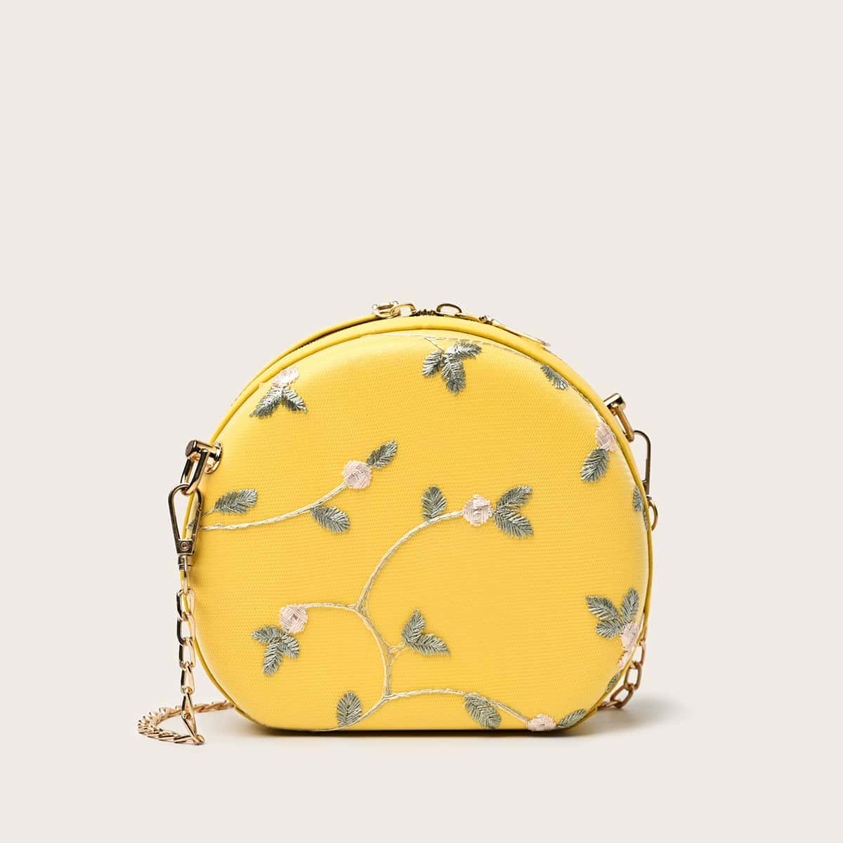 Круглая сумка на цепочке с цветочной вышивкой