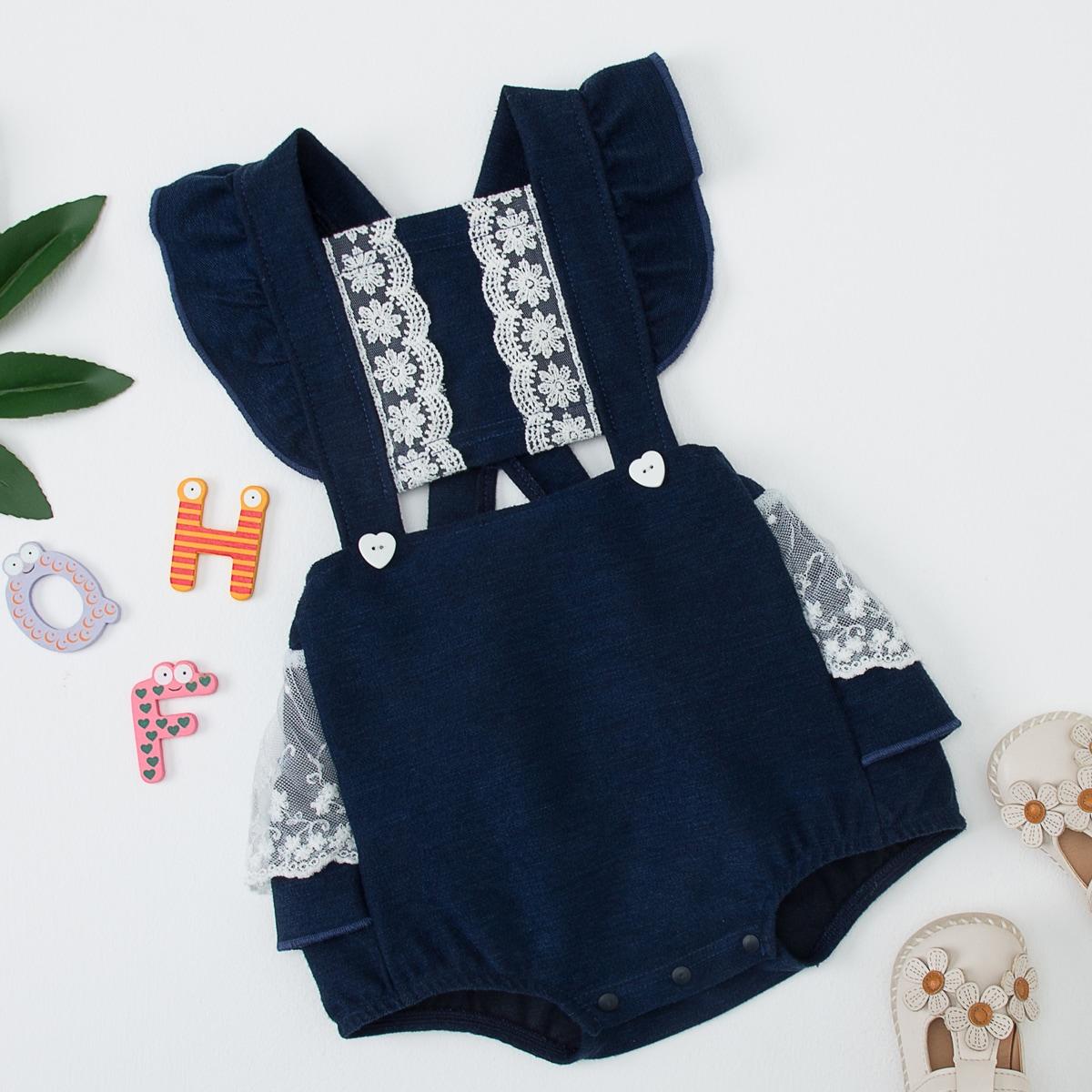 с оборками Контрастный цвет Деним для малышей от SHEIN