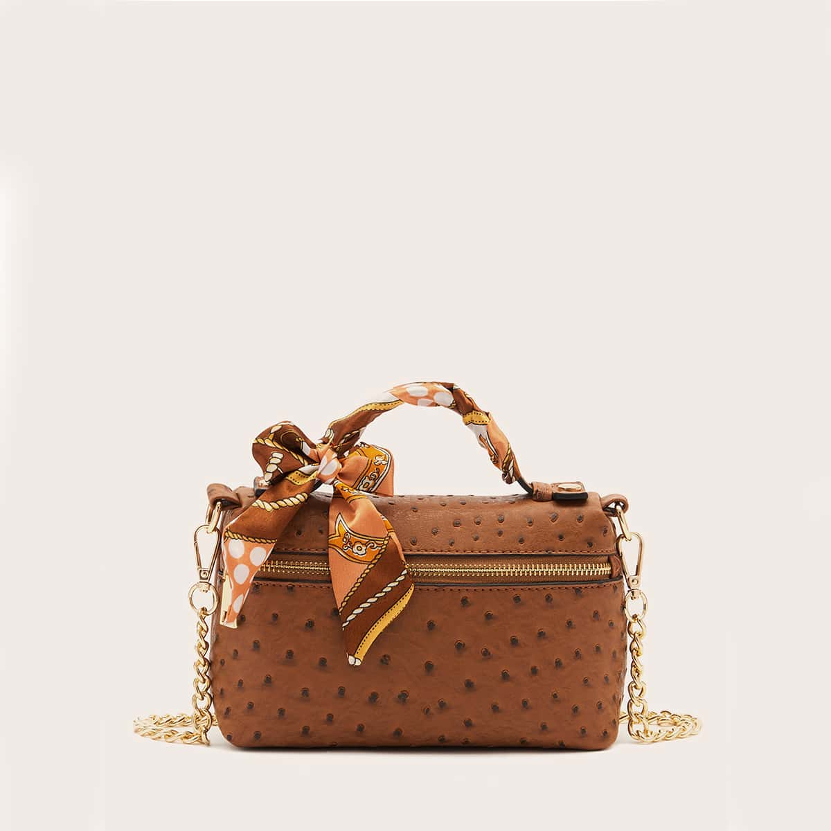 SHEIN / Twilly Scarf Decor Ostrich Embossed Chain Satchel Bag