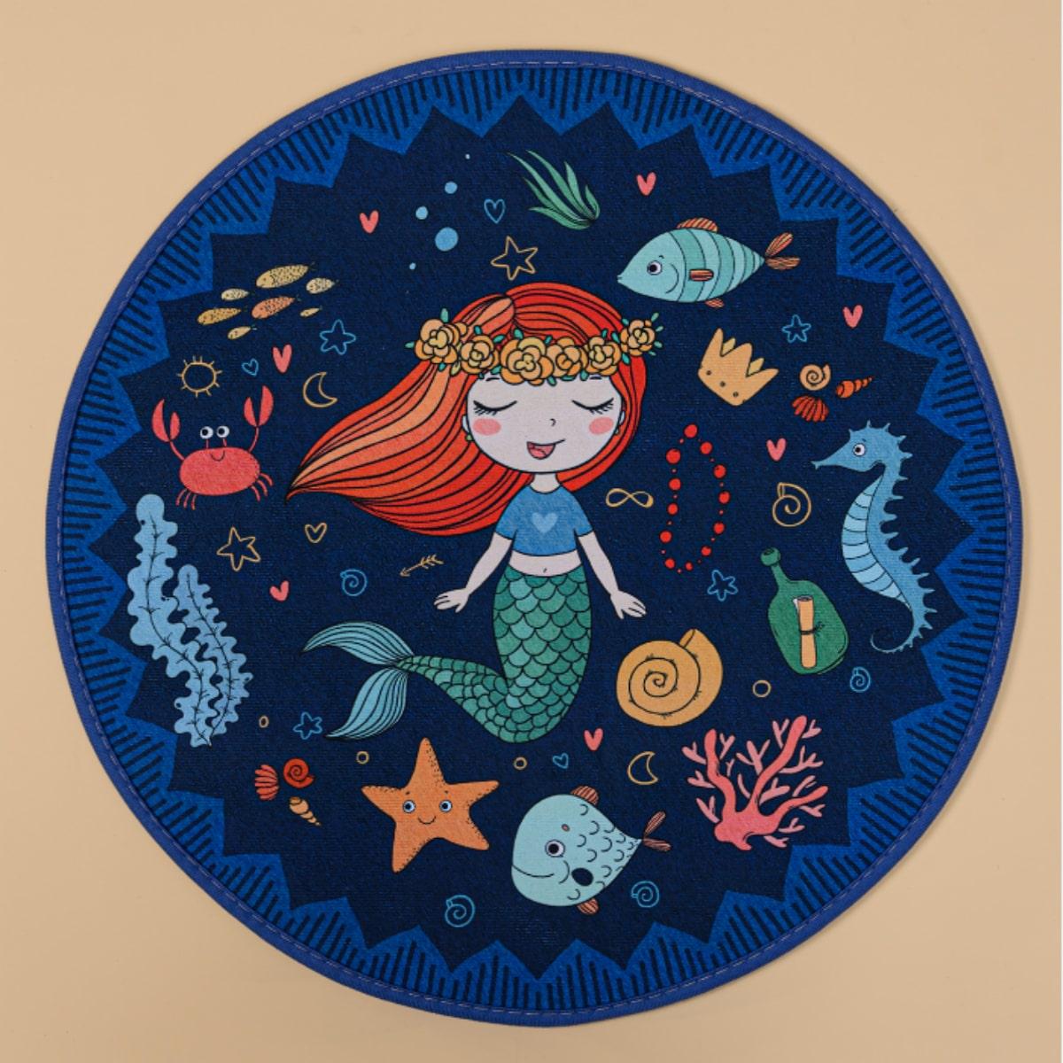 Детский игровой коврик с принтом русалки