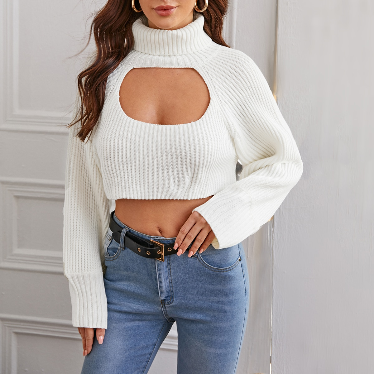 Кроп свитер с рукавом реглан