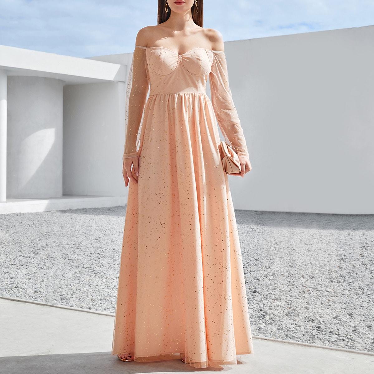 Платье с открытыми плечами и съемной прозрачной бретелькой