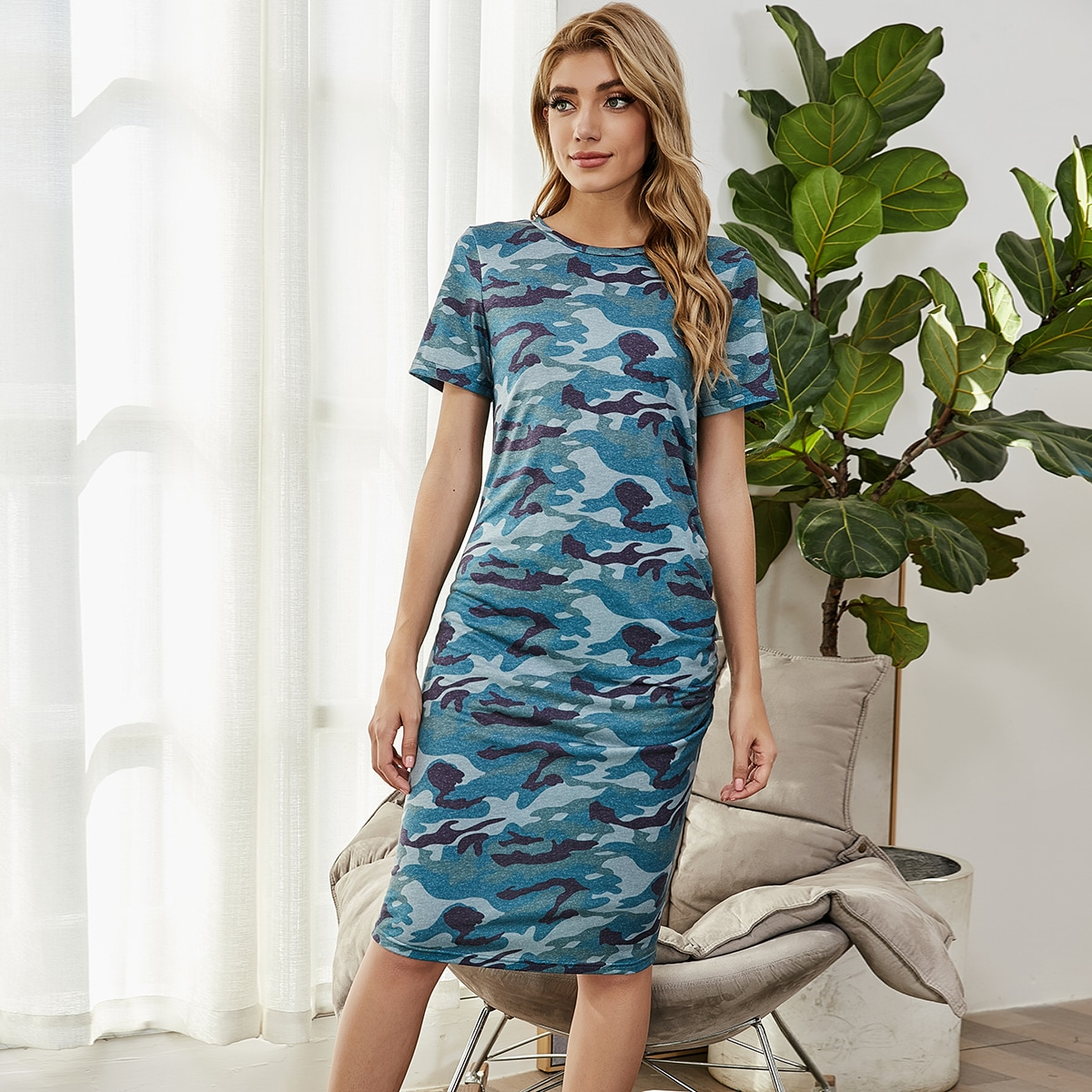 Камуфляж Повседневный Платье