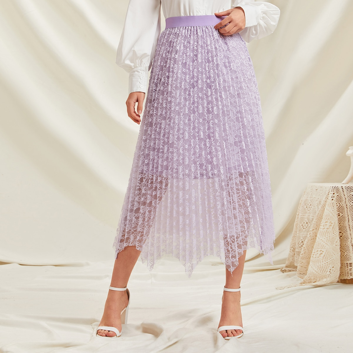 Кружевная плиссированная юбка