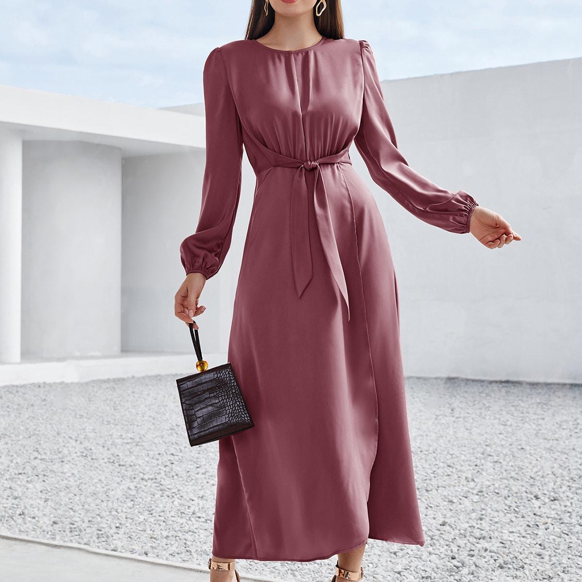 Solid Tie Front Wrap A-line Dress