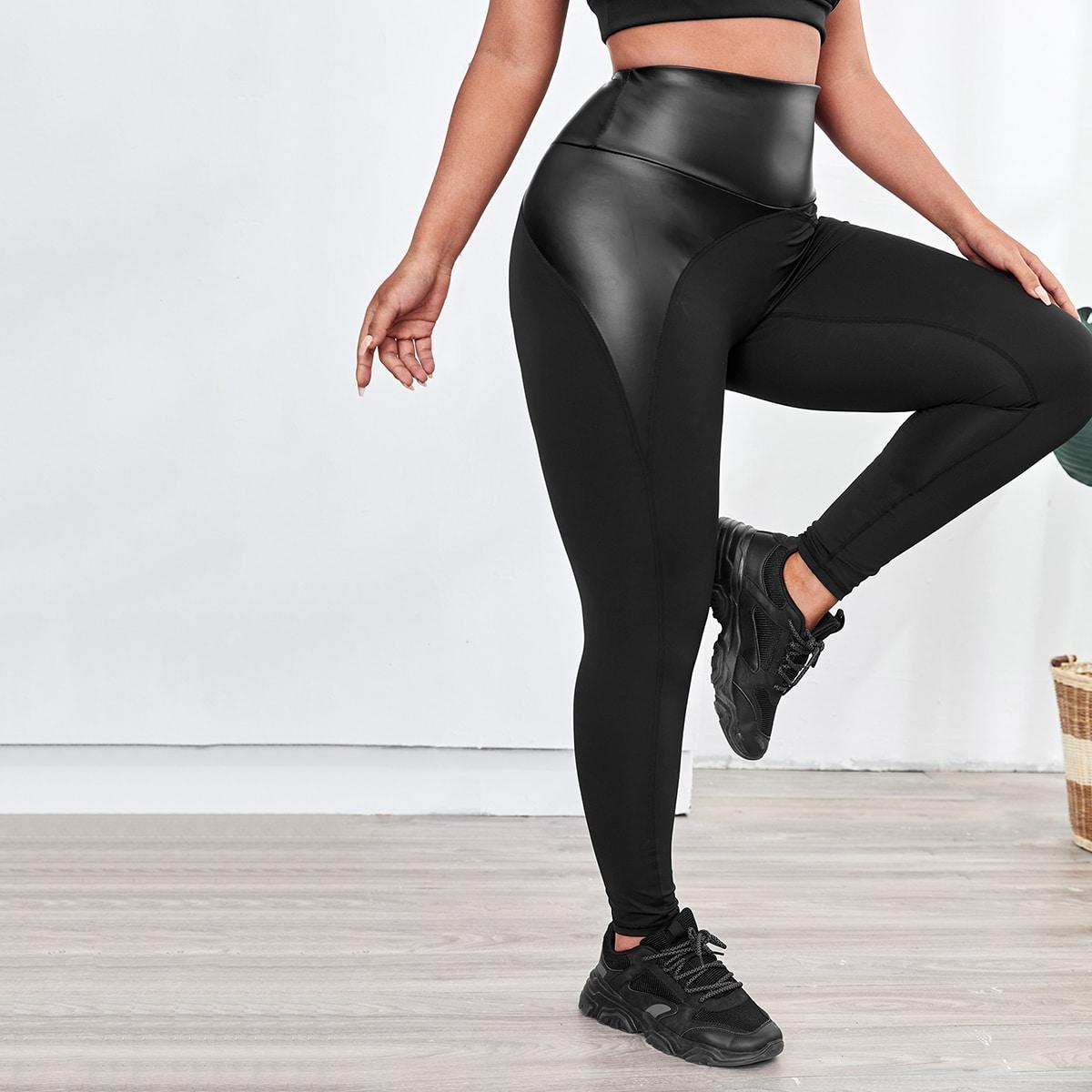 Контрастные спортивные леггинсы размера плюс из искусственной кожи