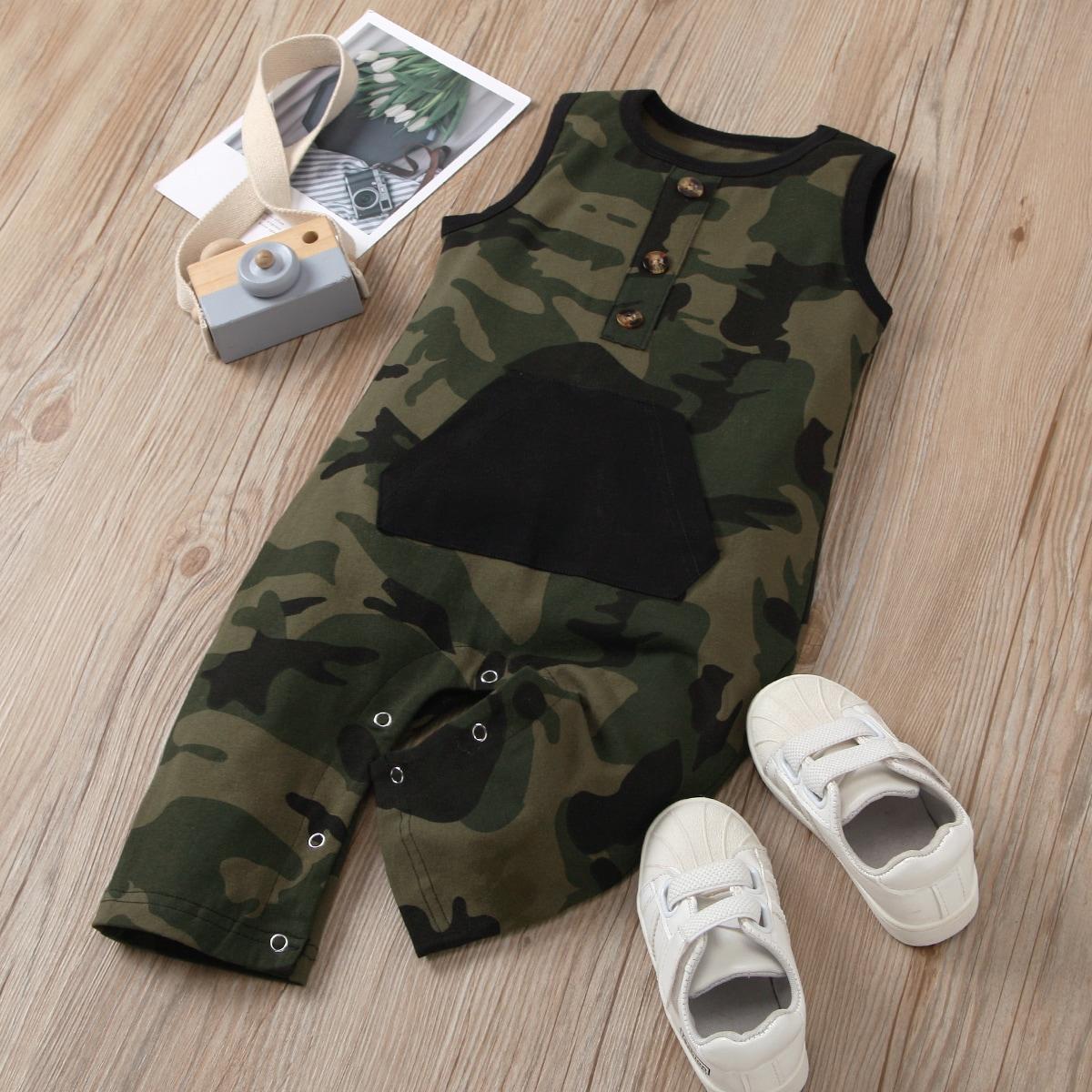 Baby Boy Camo Print Sleeveless Jumpsuit