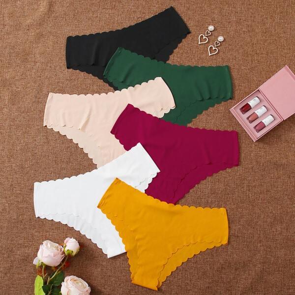 6pack Scalloped Trim Panty Set, Multicolor