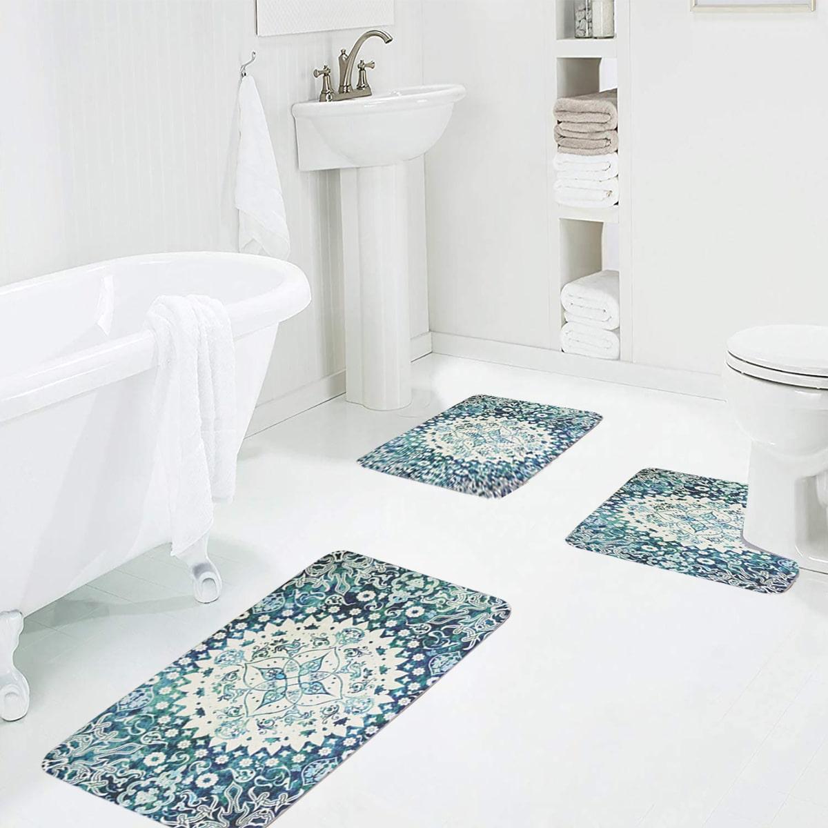 1 Stück Badezimmerteppich mit Blumen Muster