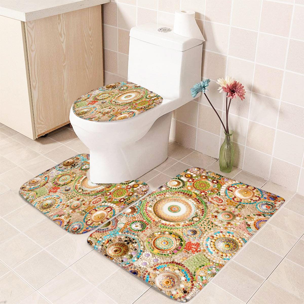 1 Stück Badezimmerteppich mit Edelstein Muster