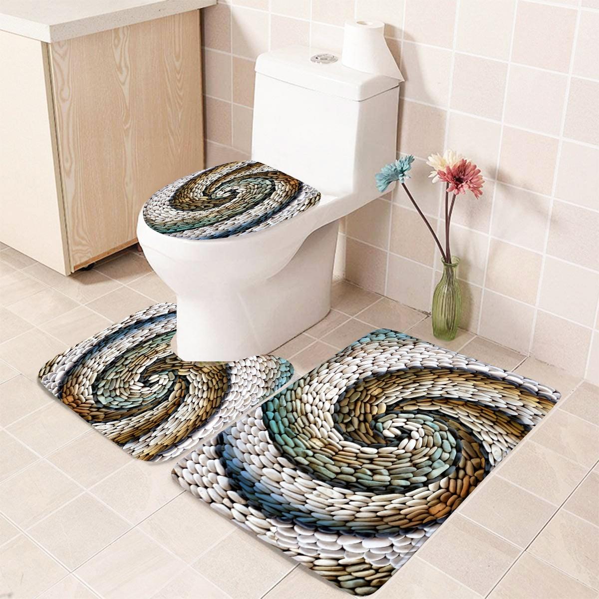 1 Stück Badezimmerteppich mit Kopfsteinpflaster Muster