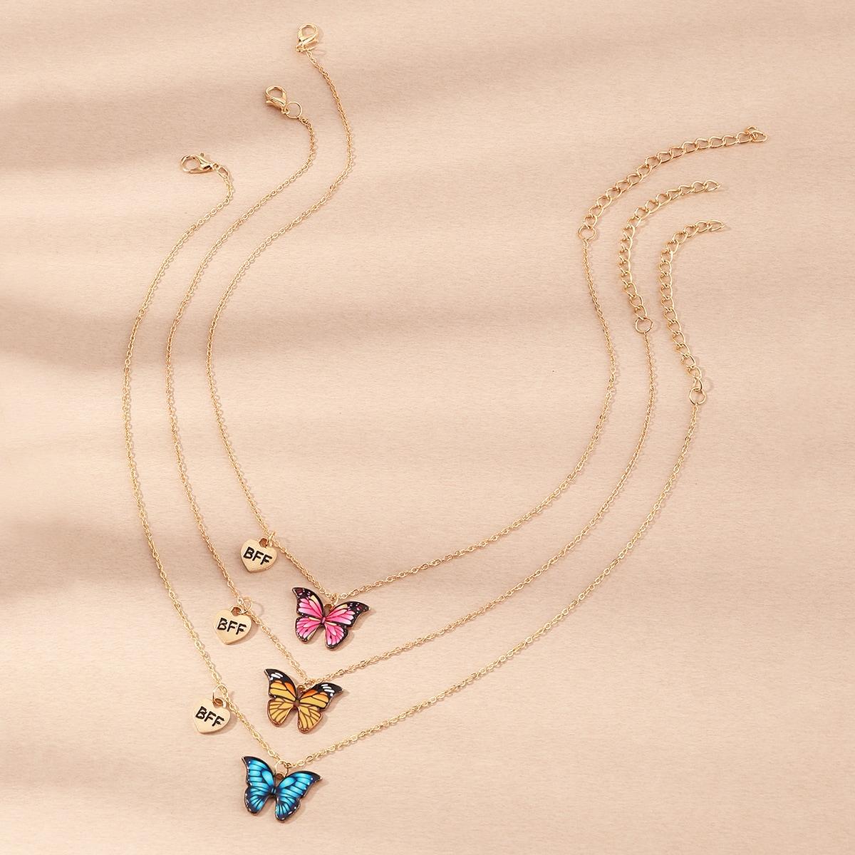 3 pezzi collana con ciondolo farfalla per ragazza
