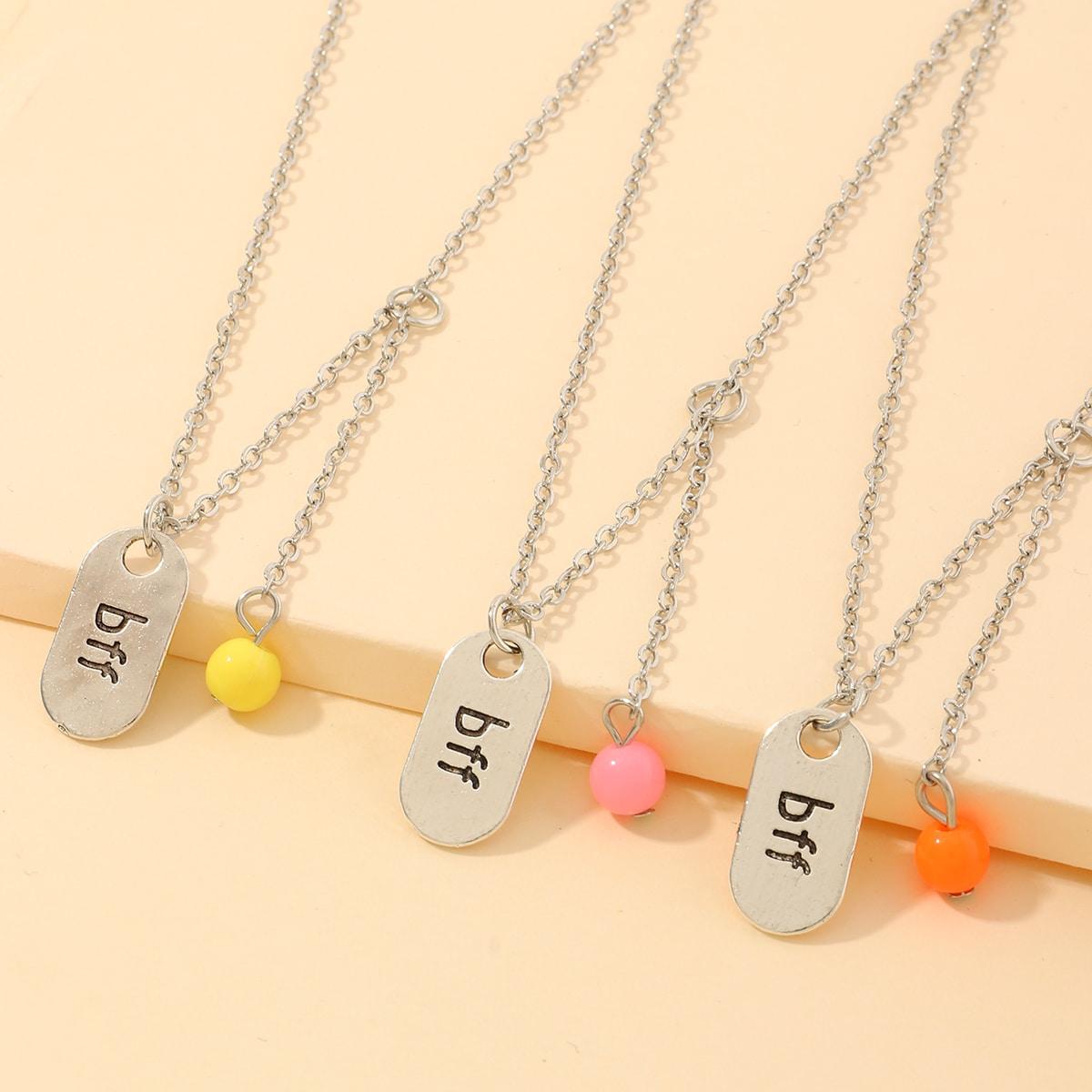 Ожерелье с текстовой гравировкой для девочек 3шт