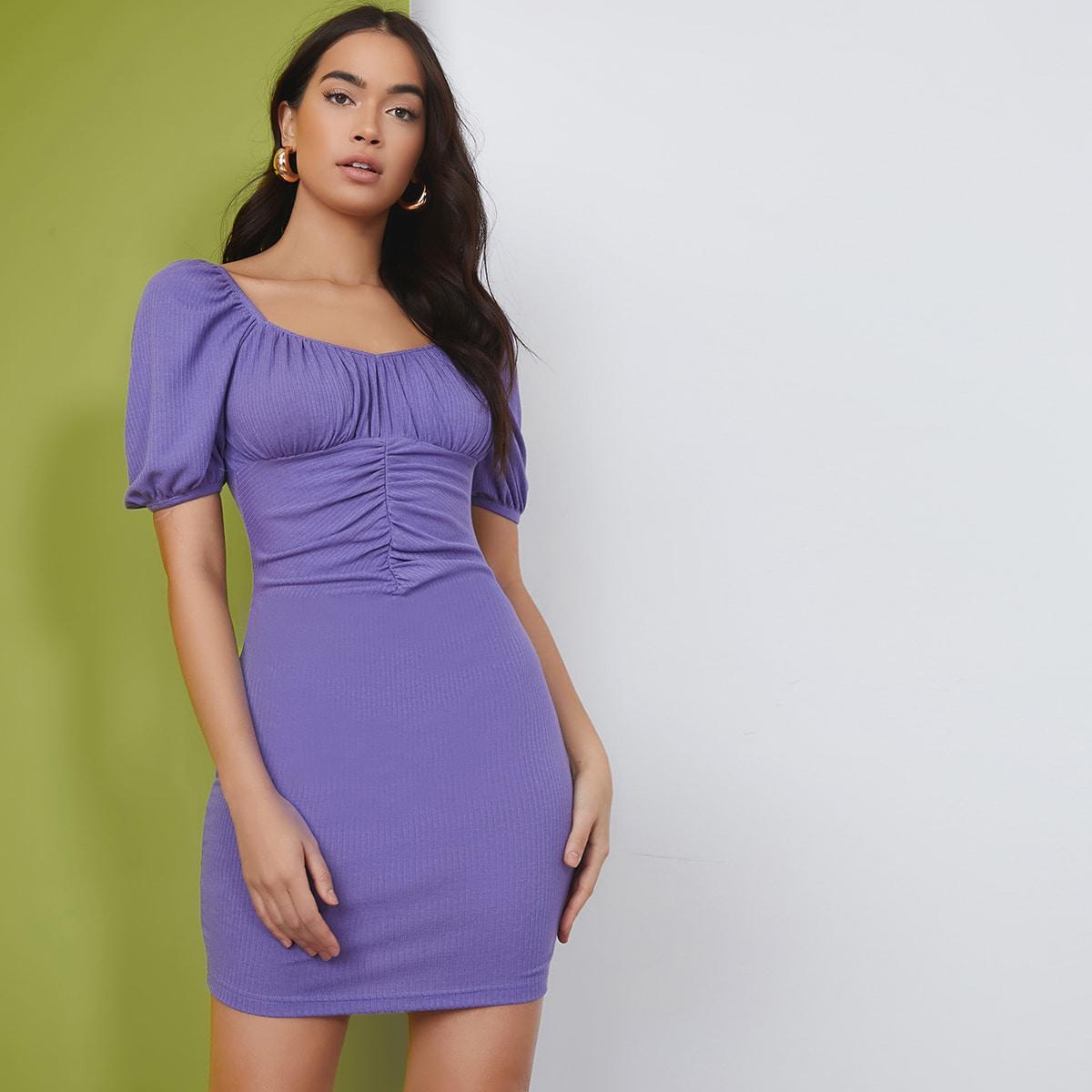 со сборками Одноцветный Элегантный Платье