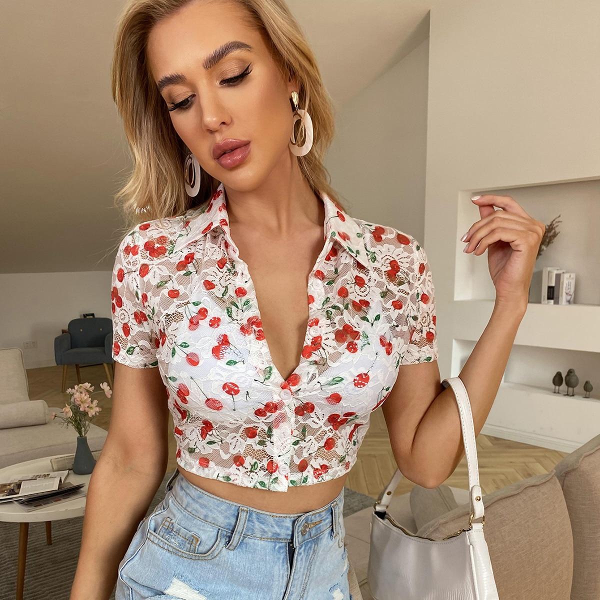 Кружевная блузка с принтом вишни без бюстгальтера