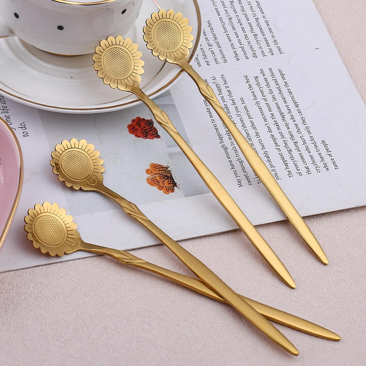 4 Stücke Schürze Set mit Sonnenblumen Muster