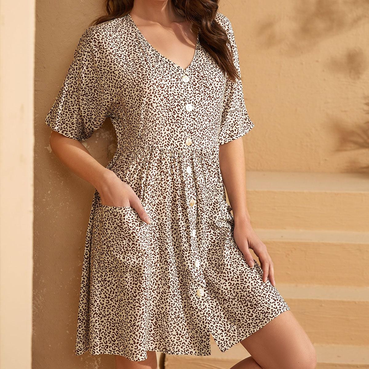 с карманами Леопардовый принт милый Платье
