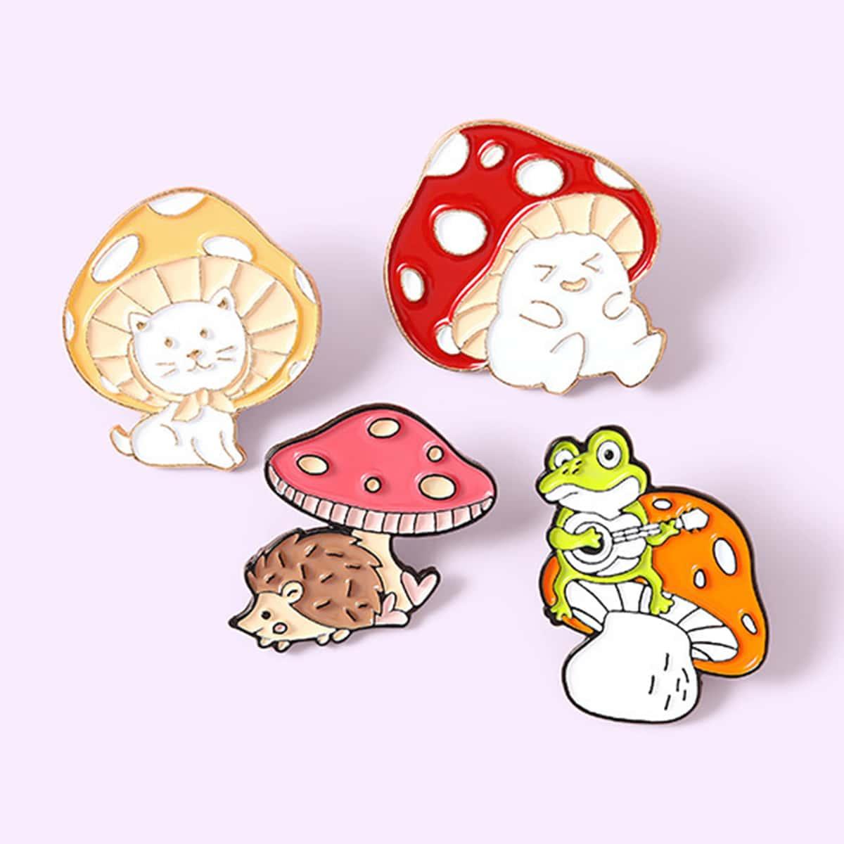 4 pezzi spilla con design fungo per bambini