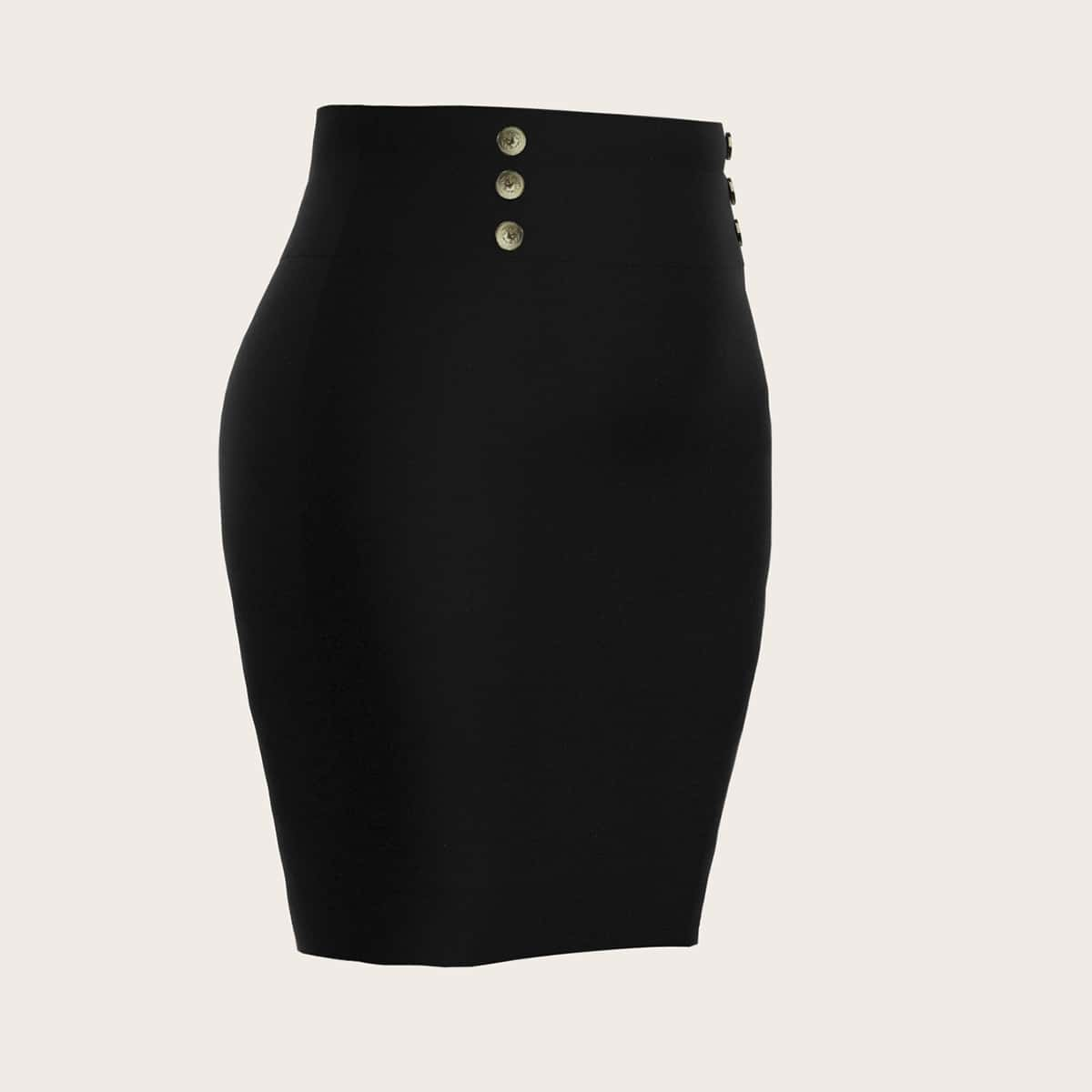 SHEIN / Plus Double Breasted Pencil Skirt