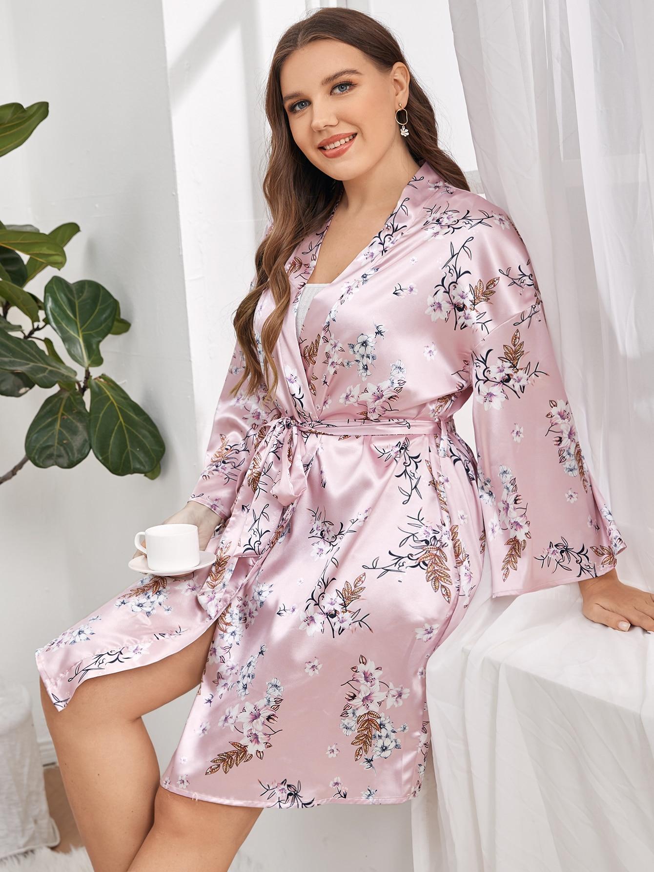 Plus Satin Floral Print Belted Robe
