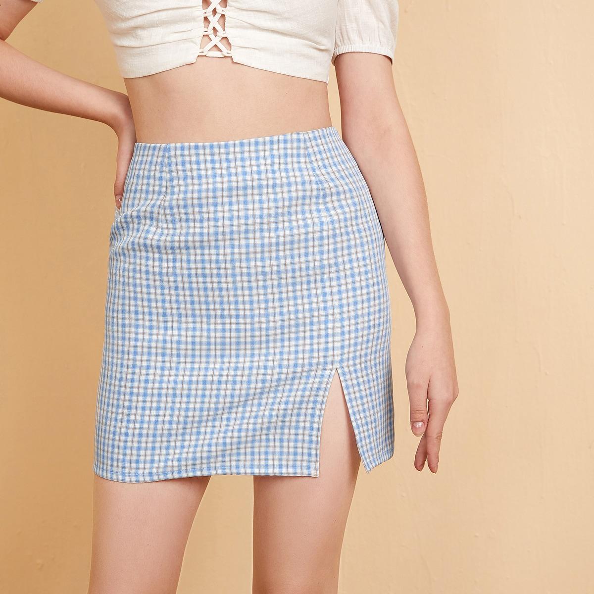SHEIN / Zipper Side Split Hem Plaid Skirt