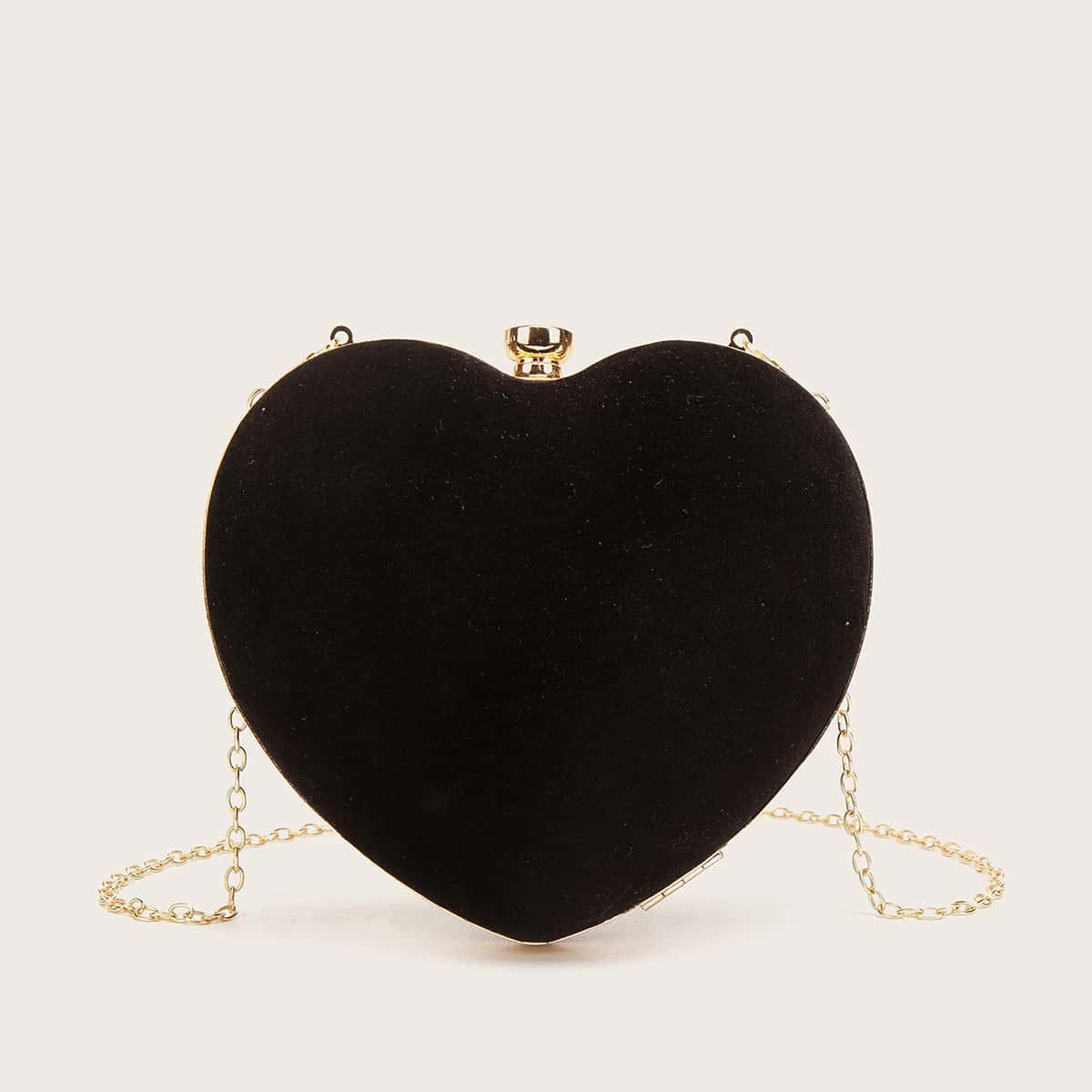 shein Mini hartvormig fluwelen tasje met ketting