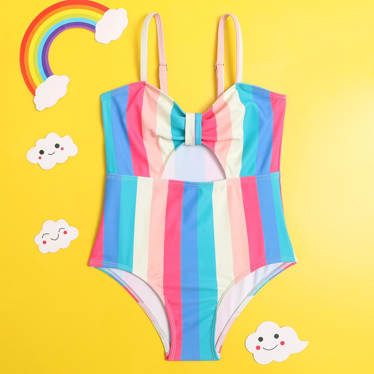 Toddler Girls Colorful Striped One Piece Swimsuit