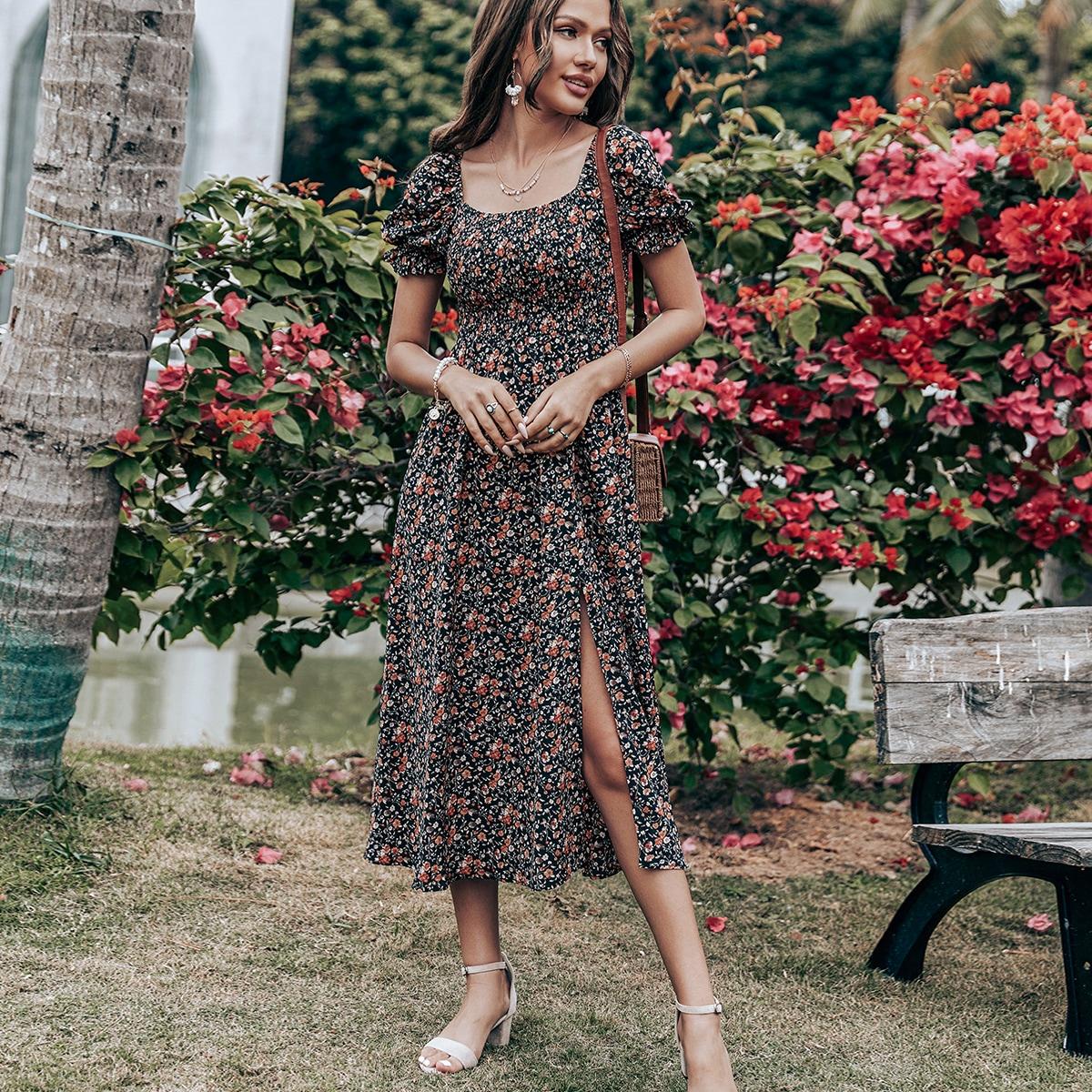 Высокий разрез Цветочный принт Бохо Платье