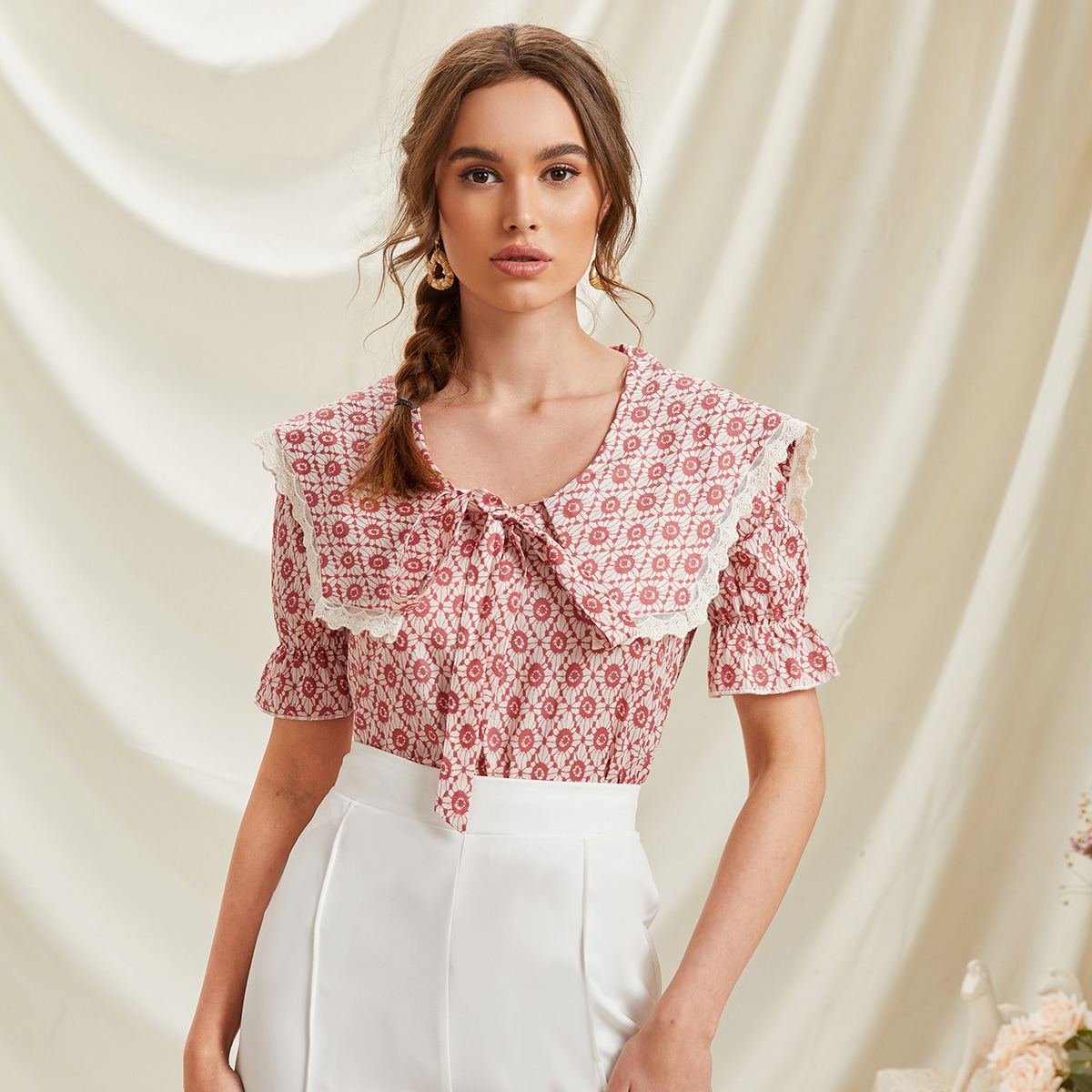 с оборками Принт Элегантный Блузы по цене 696