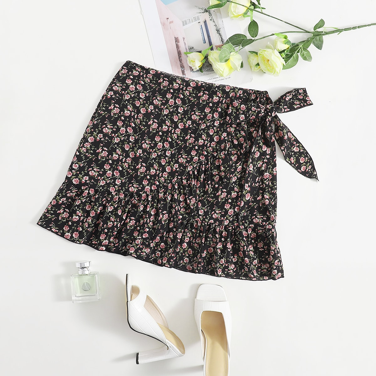 Plus Ditsy Floral Tie Side Wrap Skirt