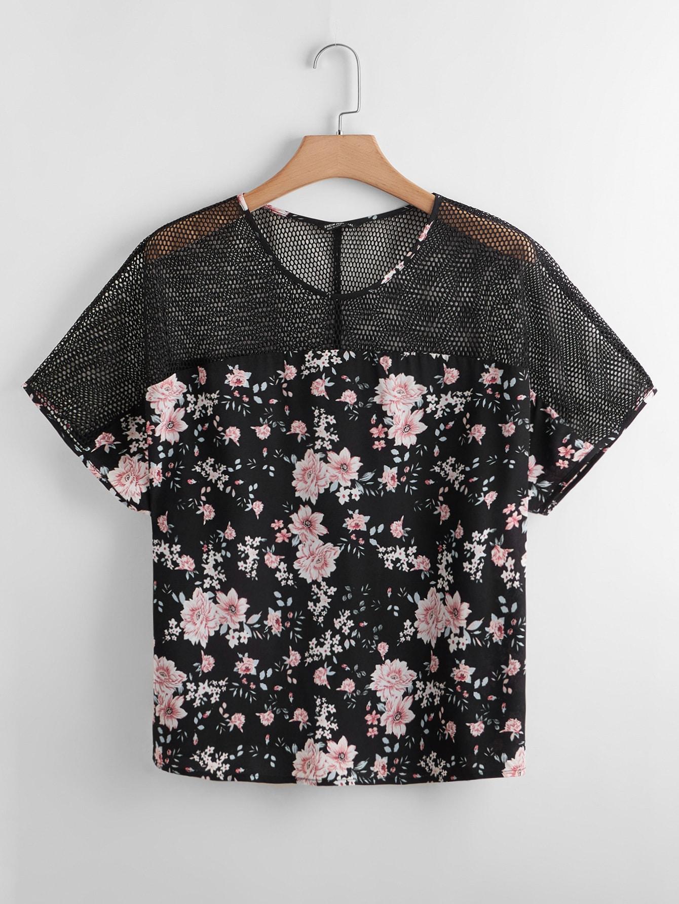 Plus Contrast Mesh Floral Print Blouse