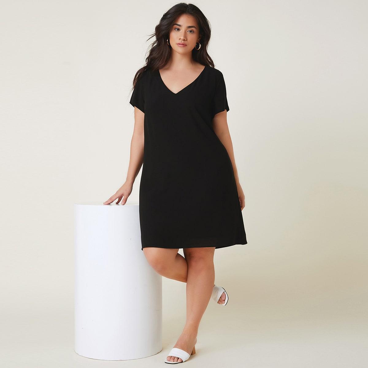 Однотонное платье размера плюс с v-образным воротником