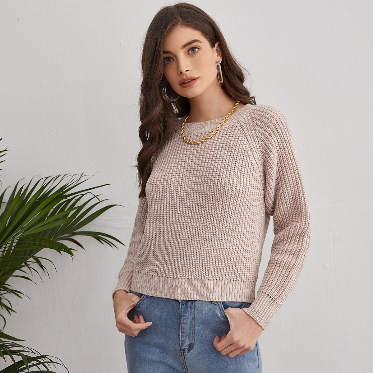 Однотонный свитер с рукавом-регланом