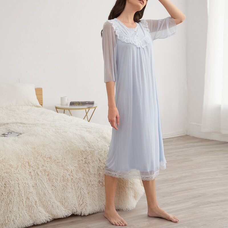 Contrast Lace Nightdress, Blue