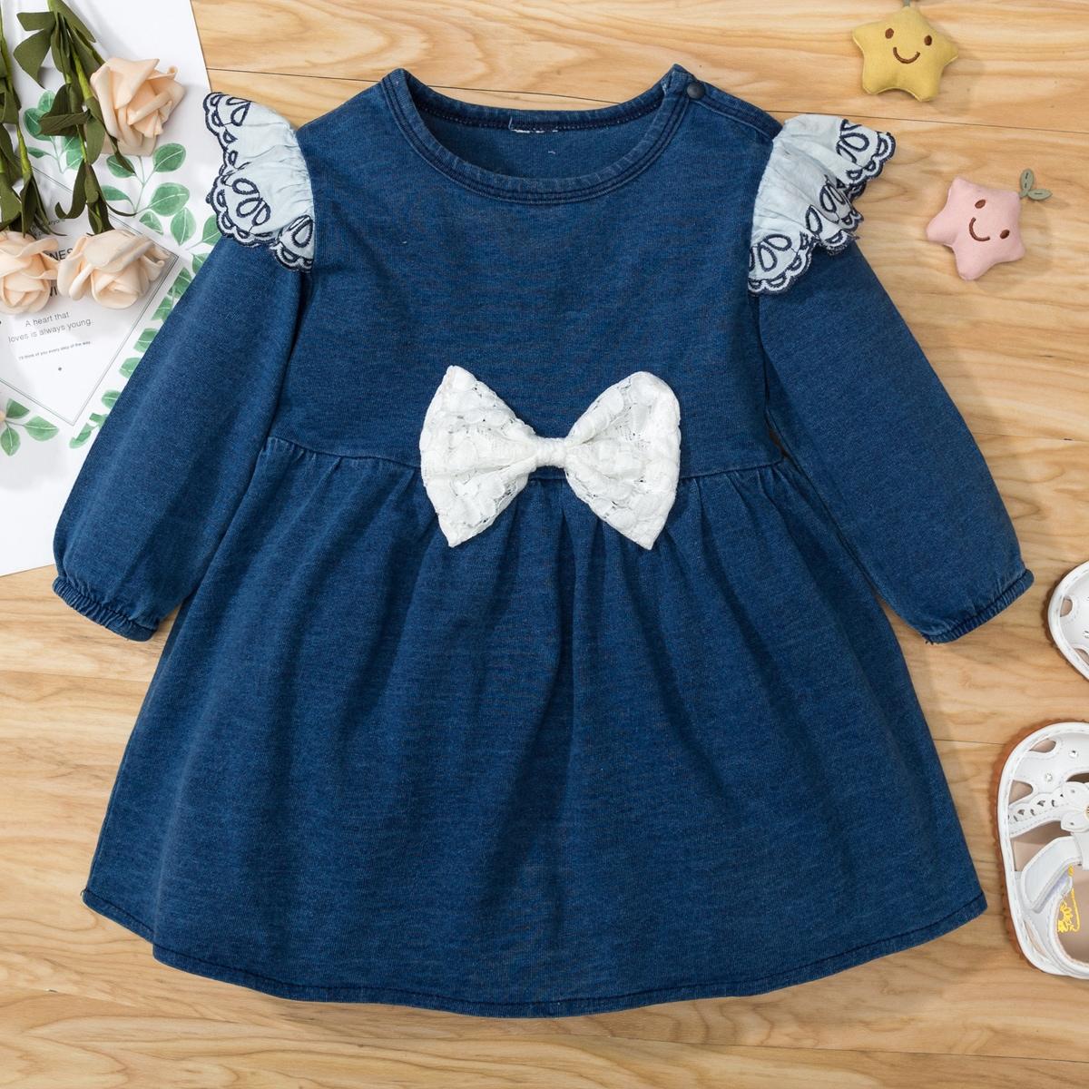 Джинсовое платье с бантом для девочек от SHEIN