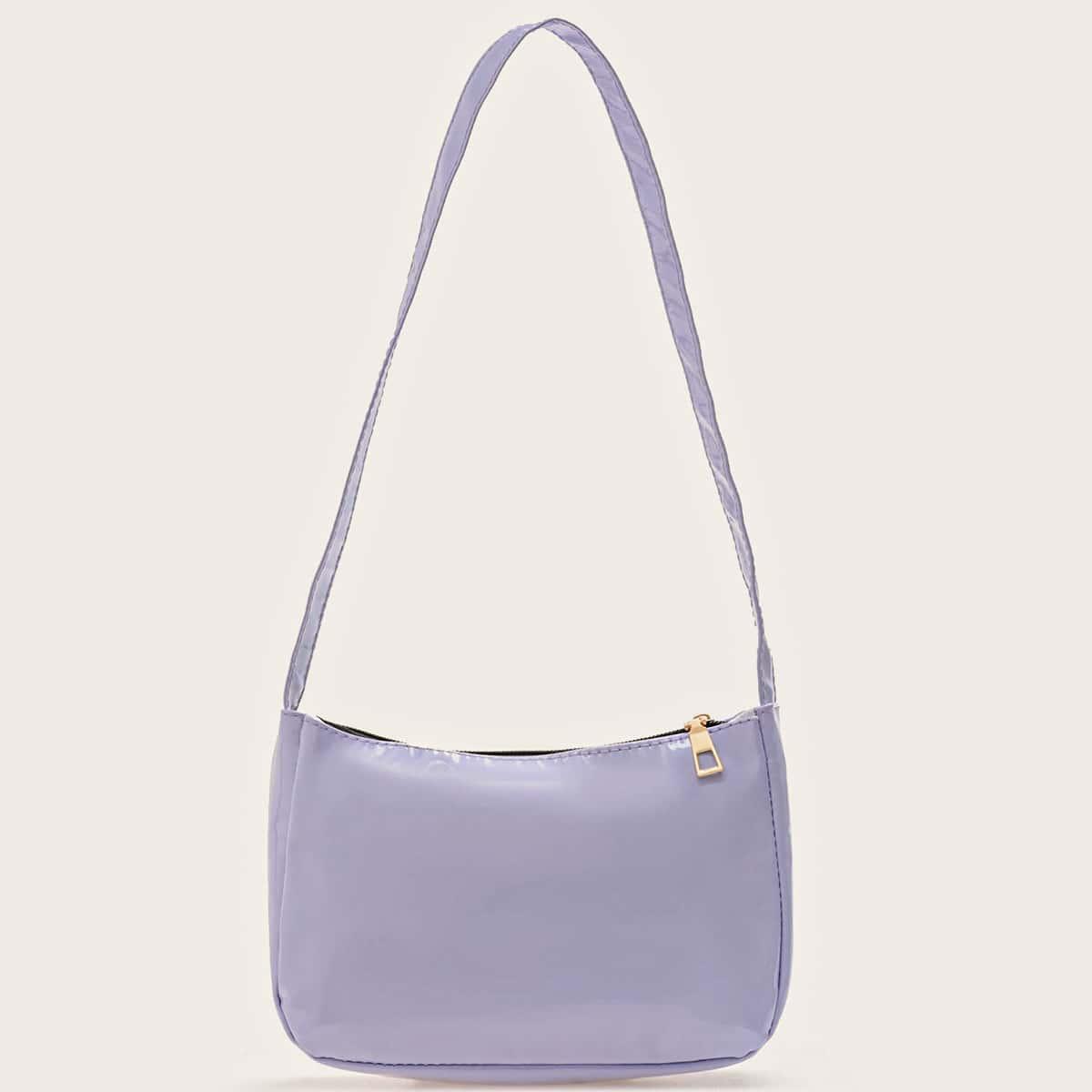 Минималистичная лакированная сумка через плечо