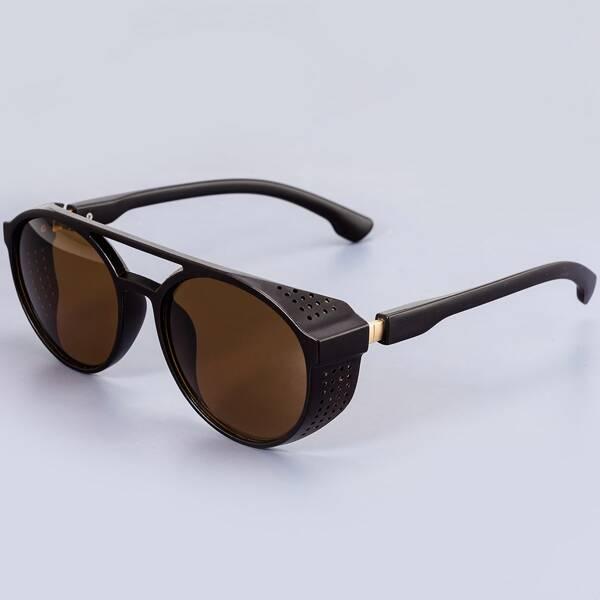 Men Acrylic Frame Tinted Lens Sunglasses, Brown